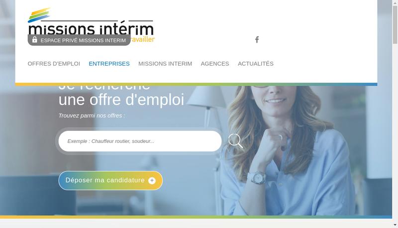 Capture d'écran du site de Missions Interim Beziers