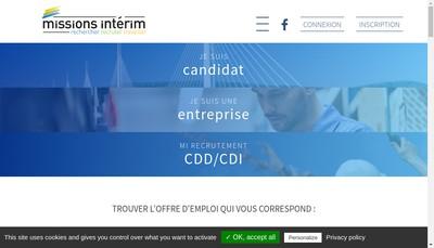 Site internet de Missions Interim Beziers