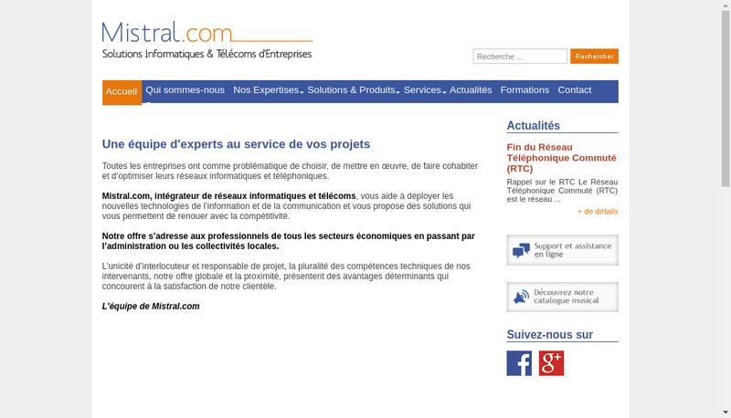 Capture d'écran du site de Mistral Com