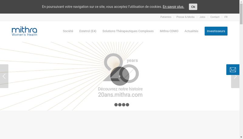 Capture d'écran du site de Theramex France