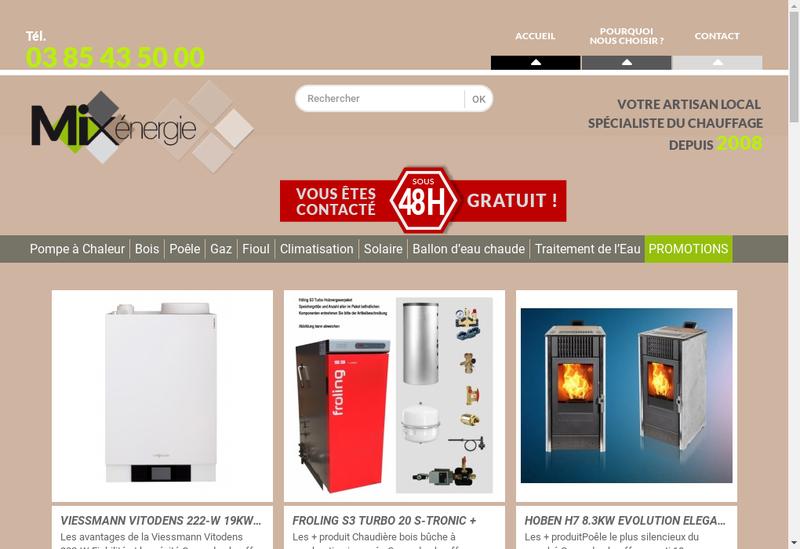Capture d'écran du site de Mixenergie