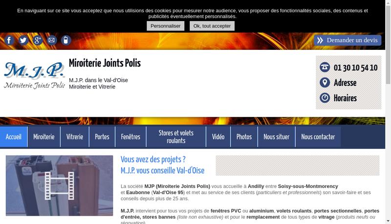 Capture d'écran du site de Miroiterie Joints Polis