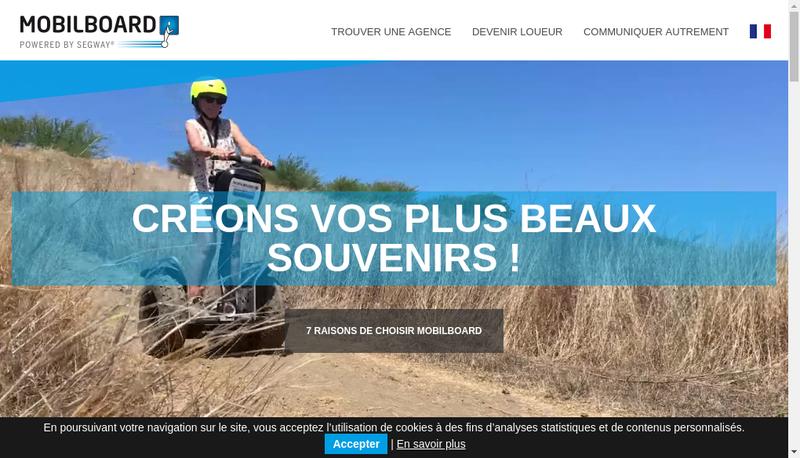Capture d'écran du site de Mobilboard Nice