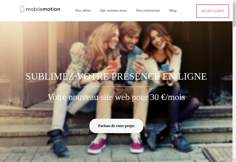Capture d'écran du site de Mobilemotion