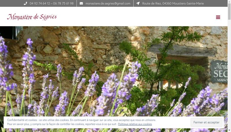 Capture d'écran du site de Monastere de Segries