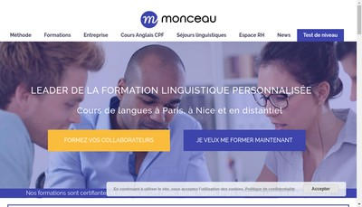 Site internet de Monceau Langues