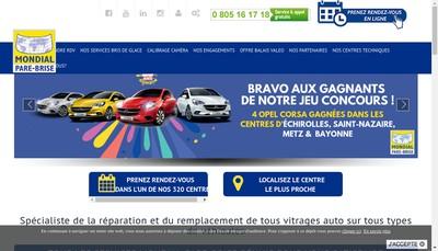 Site internet de Mondial Pare-Brise