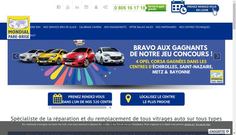 Capture d'écran du site de Mondial Pare-Brise
