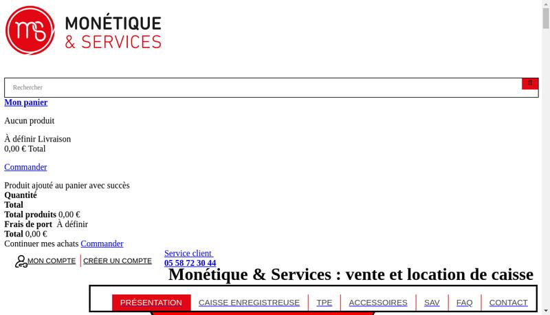 Capture d'écran du site de Monetique et Services