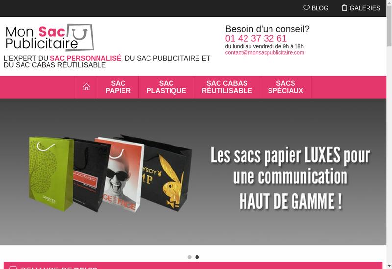 Capture d'écran du site de Mon Sac Publicitaire