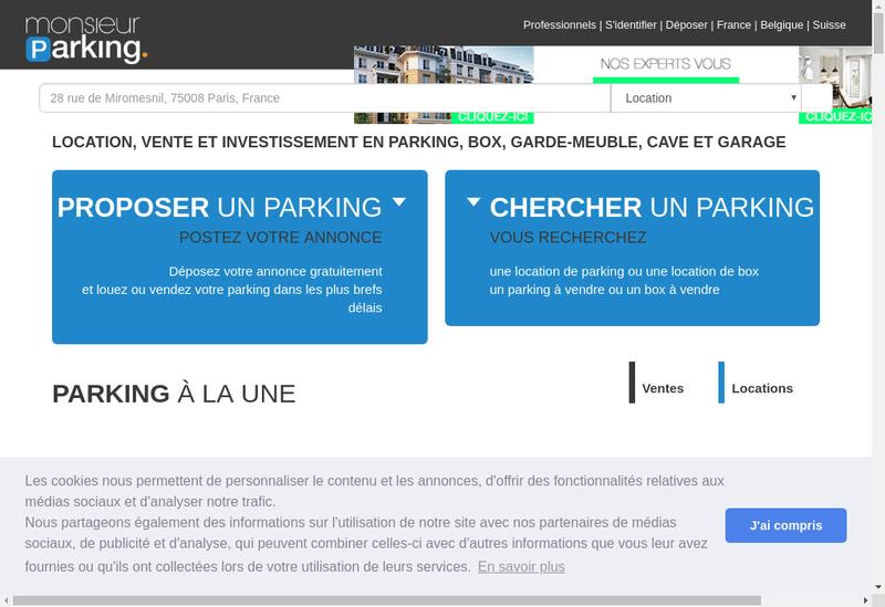 Capture d'écran du site de Monsieur Parking