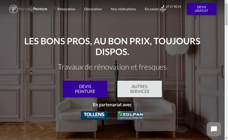 Capture d'écran du site de Monsieur Peinture