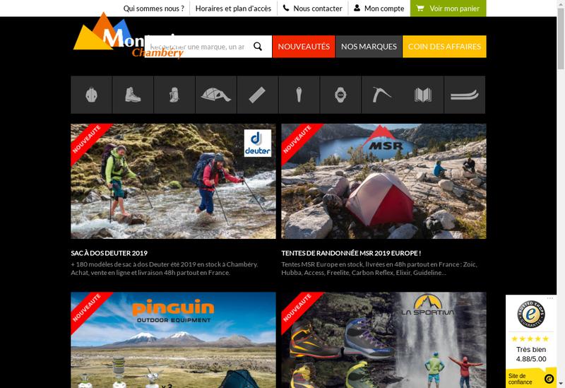 Capture d'écran du site de Montania Sport