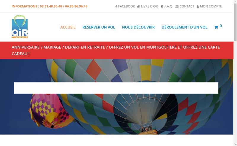 Capture d'écran du site de Air Montgolfieres