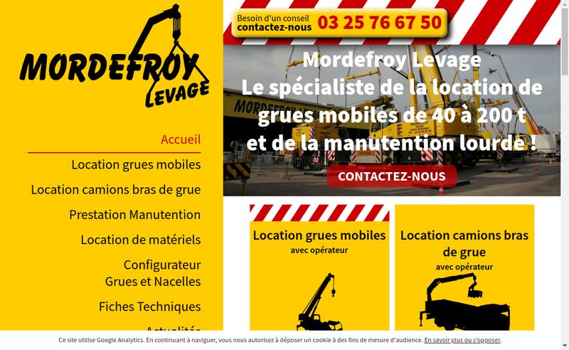 Capture d'écran du site de Mordefroy Levage