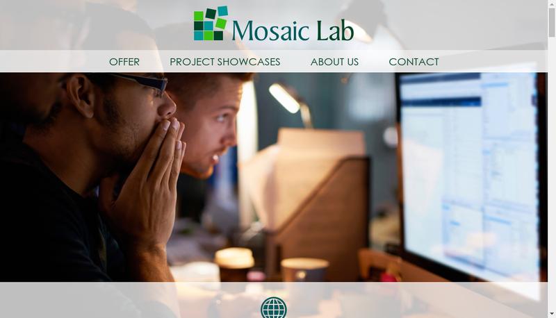 Capture d'écran du site de Mosaic Lab