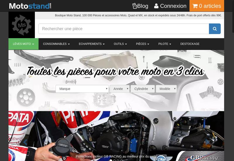 Capture d'écran du site de Motostand