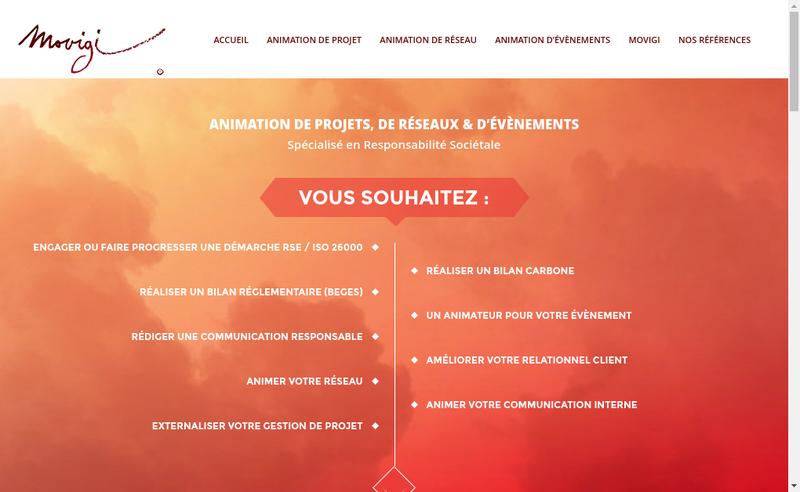 Capture d'écran du site de Movigi