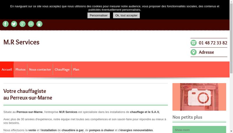 Capture d'écran du site de Mr Services+