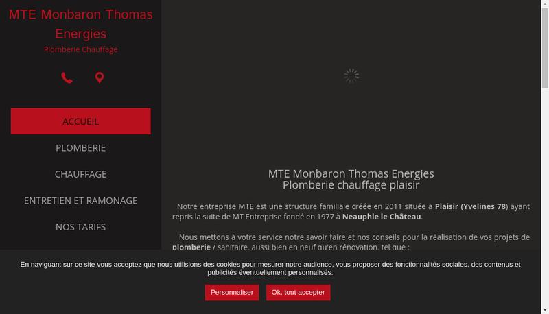 Capture d'écran du site de MONBARON THOMAS ENERGIES