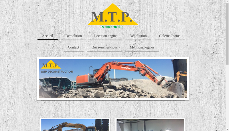 Capture d'écran du site de Mtp Construction