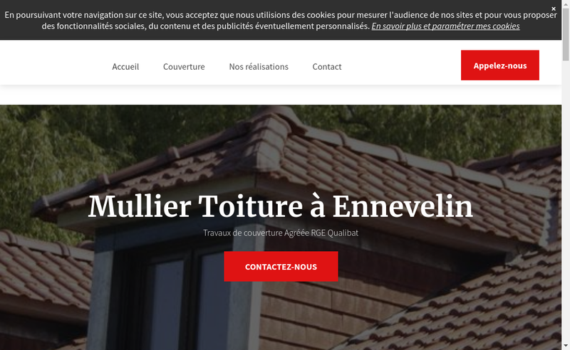 Capture d'écran du site de Mullier Toiture