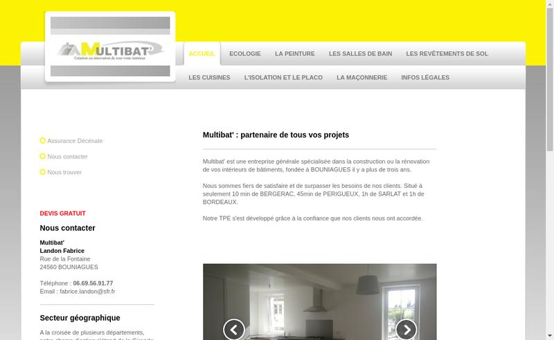 Capture d'écran du site de Multibat