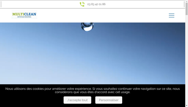 Capture d'écran du site de Multiclean