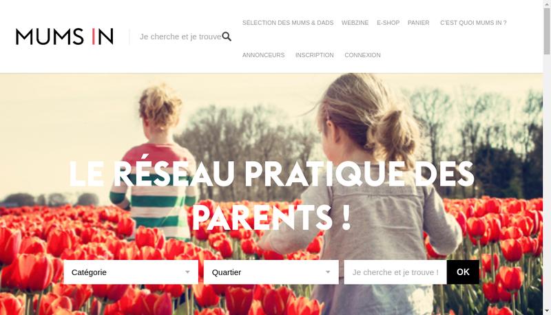 Capture d'écran du site de Mums In et Dads In