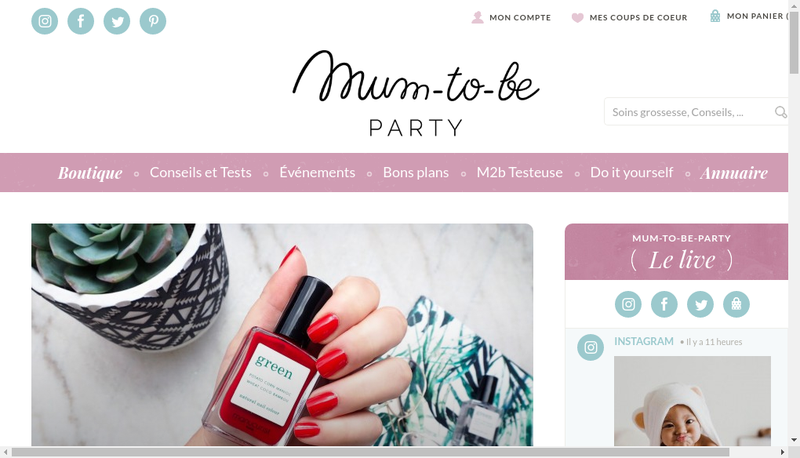 Capture d'écran du site de Mum-To-Be Party
