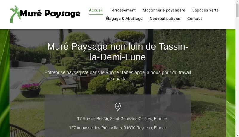 Capture d'écran du site de Mure Paysage