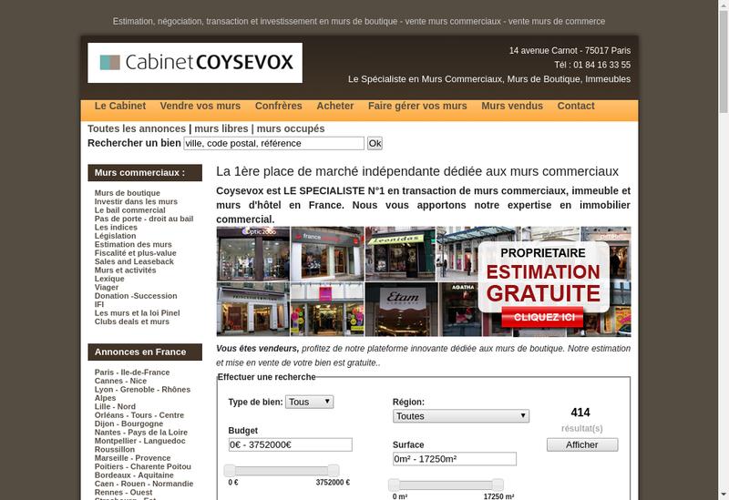 Capture d'écran du site de Coysevox