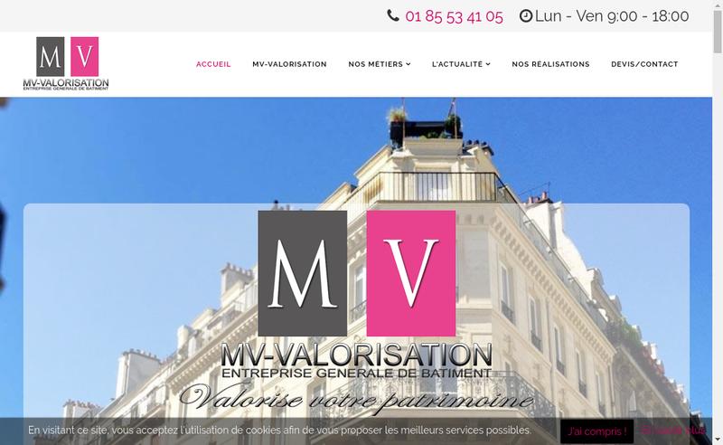 Capture d'écran du site de Mv Valorisation