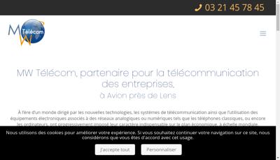 Capture d'écran du site de Mw Telecom