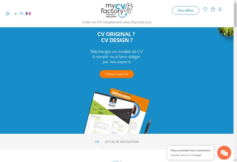 Capture d'écran du site de Mycvfactory