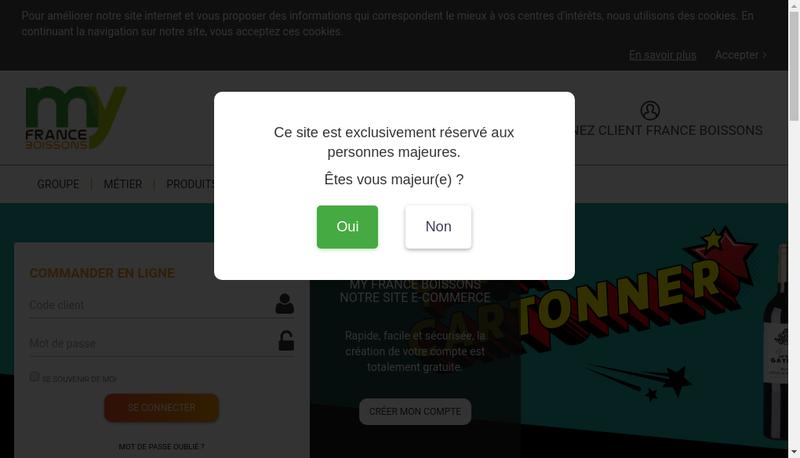 Capture d'écran du site de France Boissons Rhone Alpes