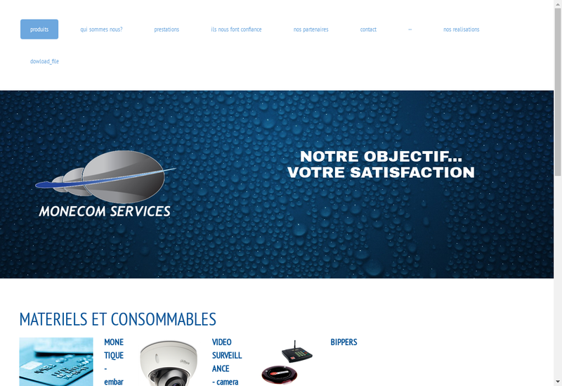 Capture d'écran du site de Monecom Services