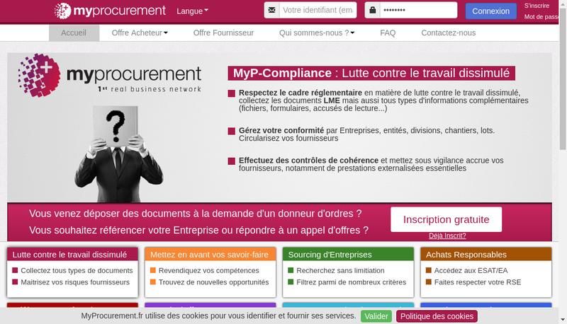Capture d'écran du site de My Procurement
