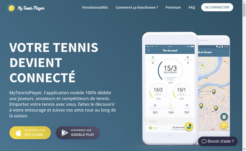 Capture d'écran du site de My Tennis Player