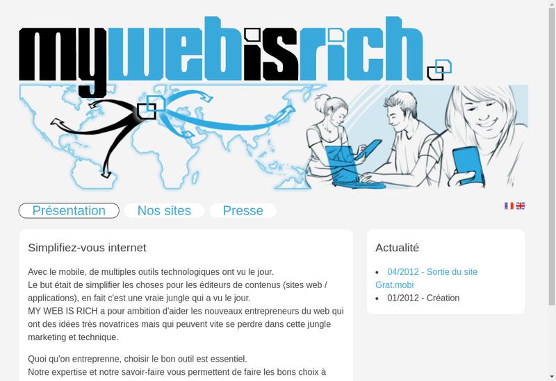 Capture d'écran du site de My Web Is Rich