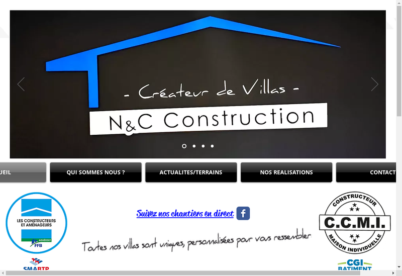 Capture d'écran du site de N et C Construction