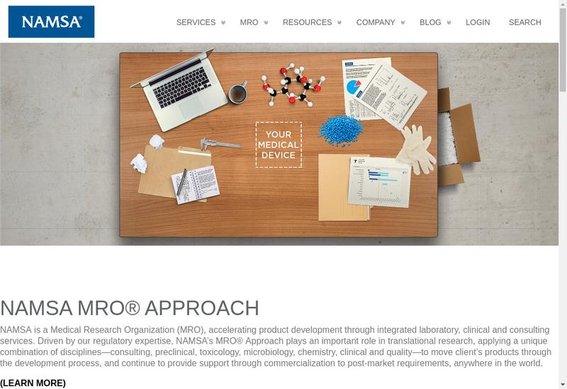 Capture d'écran du site de Biomatech Namsa