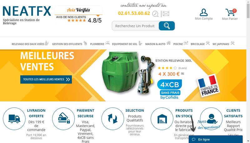Capture d'écran du site de Neatfx