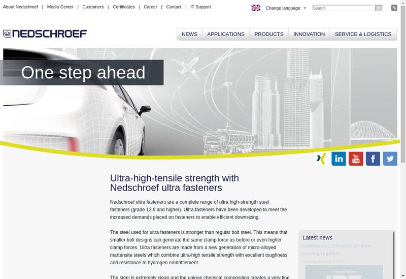 Capture d'écran du site de Nedschroef Fasteners SAS