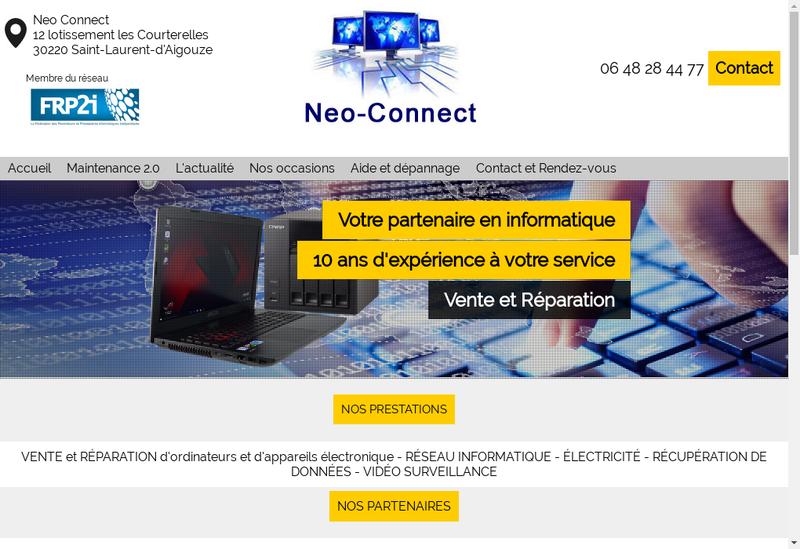 Capture d'écran du site de Neo Connect