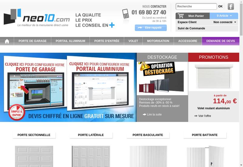Capture d'écran du site de Neo10