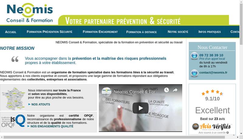 Capture d'écran du site de Neomis