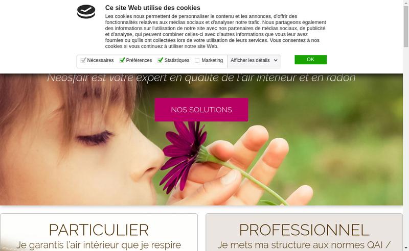 Capture d'écran du site de Neosfair