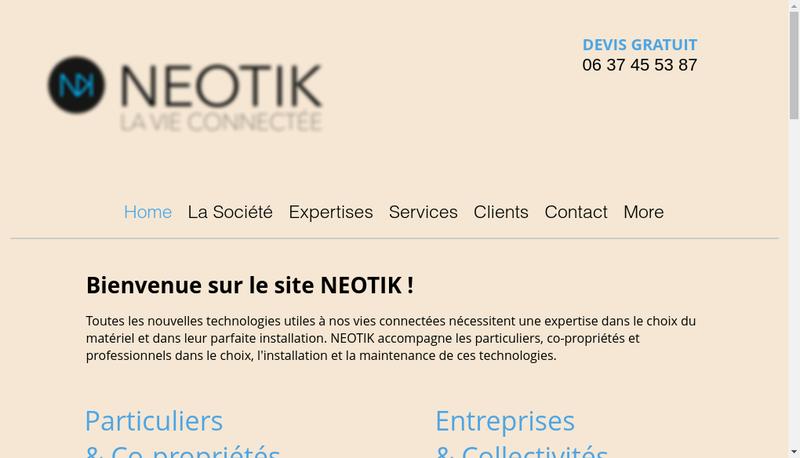 Capture d'écran du site de Numexpert Reseaux de Communication