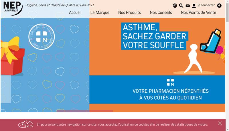 Capture d'écran du site de Laboratoires Nepenthes